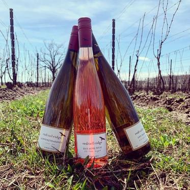 three wine bottles in the field