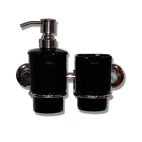Комплект подстаканник ,дозатор чёрный глянец горизонтальный