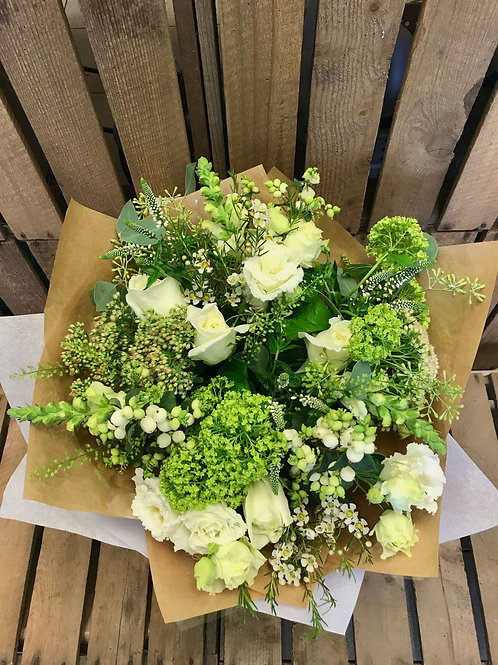 Seasonal green and white bouquet