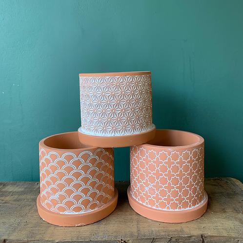 Terracotta pattern pot
