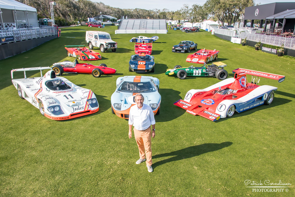 Jacky Ickx with 12 of his former racing cars