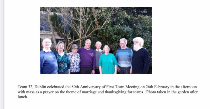 Team 32 Dublin celebrating 80th Anniversary of first Teams meeting, February 2019