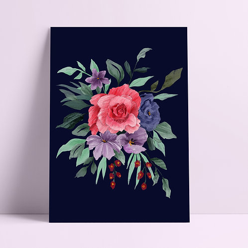 Rose Bouquet Dark Art Print