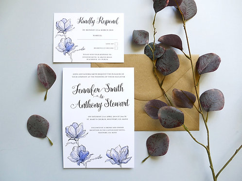 No.3 Blue Wedding Invitation Set