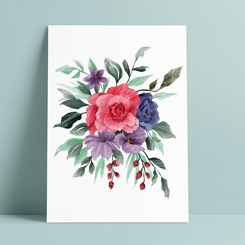 Rose Bouquet White Art Print