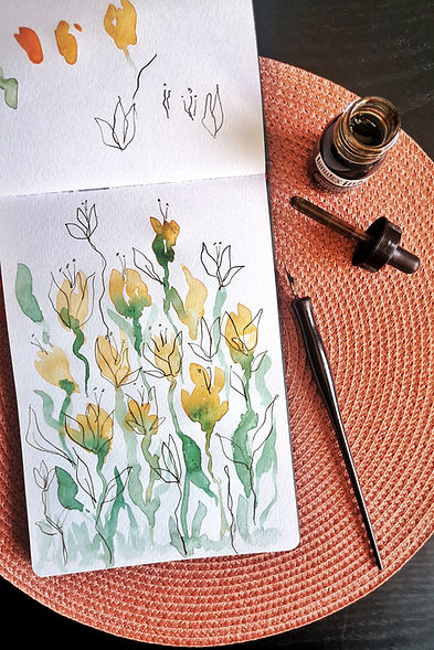 Watercolour flowers painting