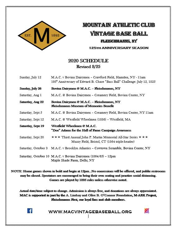 2020 Mountain Athletic Club VBB Schedule