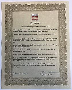 Baseball HOF Resolution Honoring Fleischmanns Founders Day