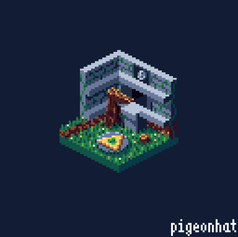Isometric Forest Temple entrance from Ocarina of Time