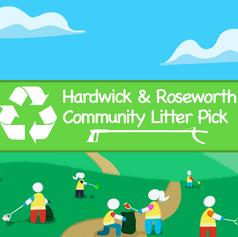 Hardwick & Roseworth Community Litter Pick Logo and Banner