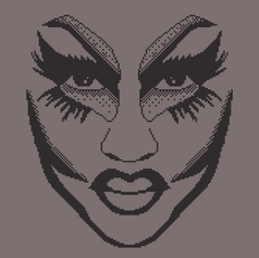 1-bit Trixie Mattel face for a collaboration to create a jumper with this design on!