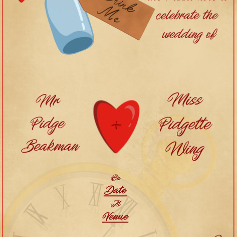 Wedding invitation I designed. Bottle, hearts and clock hand painted digitally. Text is a place holder to protect identity.
