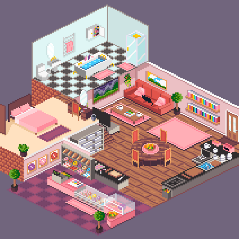 A Commission I did for Chewyena. A house and bakery for their OC