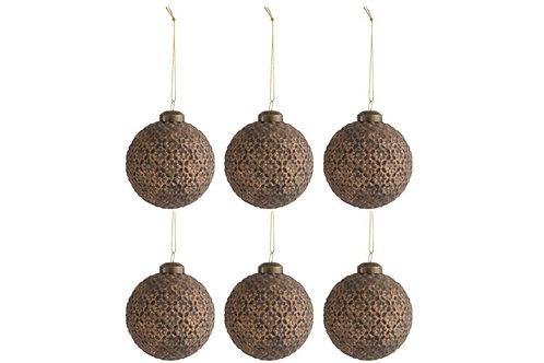 Kerstballen ANTIQUE - 8cm - 6 stuks