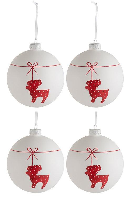 Kerstballen REINDEER - 10cm - 4 stuks