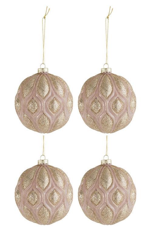 Kerstballen BOHO GLITTER - 10cm - 4 stuks