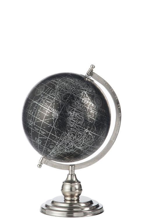 Wereldbol zwart metaal