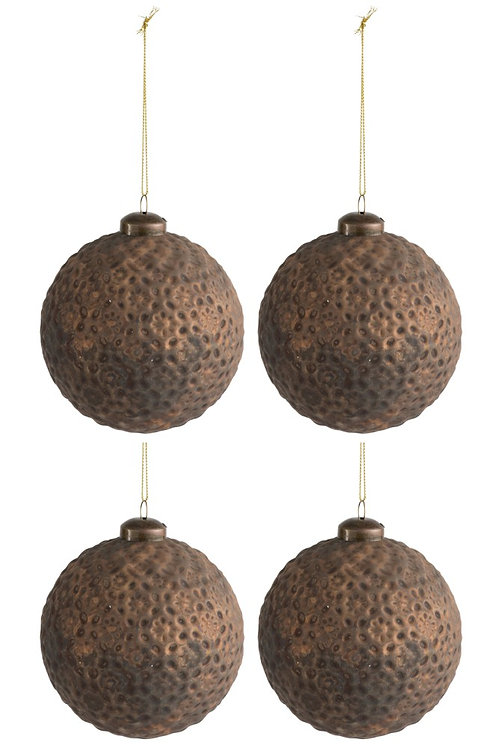 Kerstballen ANTIQUE - 10cm - 4 stuks