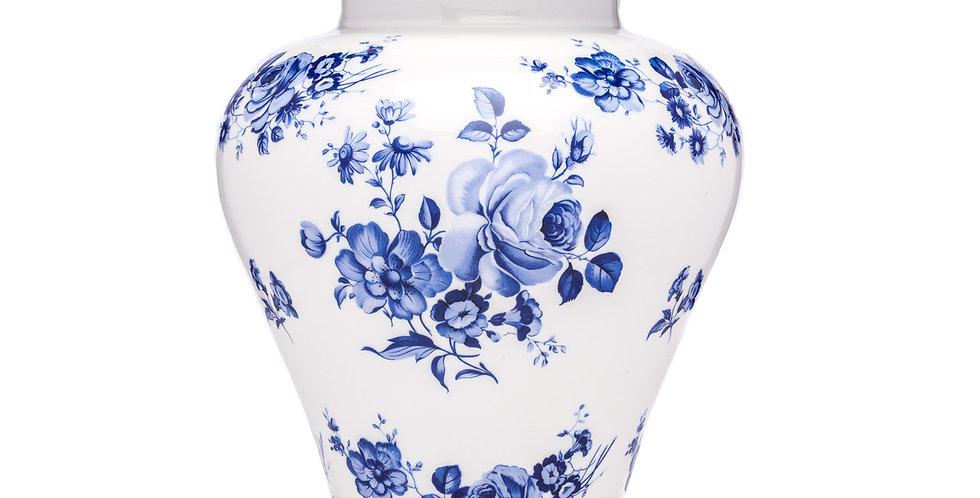 Blue Rose Porcelain Urn
