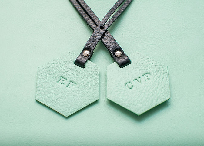 pale green and black luggage tags.jpg