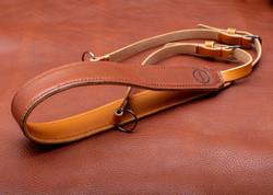 full camera strap on brown