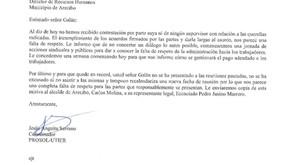 Carta enviada a Juan Galán, Director de Recursos Humanos, municipio Arecibo
