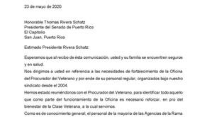 Carta al Presidente del Senado sobre el fortalecimiento de la Oficina del Procurador del Veterano