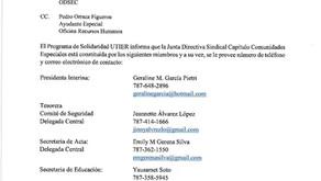 Carta informativa confirmación Junta Sindical ODSEC