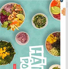 A Wix website of Hanai Poke with a birds eye view of Poke bowls