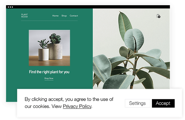 Website for a plant store displaying cookie consent banner.