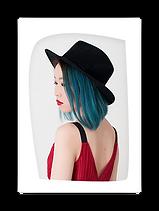Shaped cropped image of a side profile of a stylish lady.