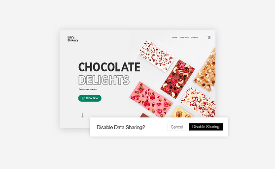 Chocolate website allowing visitors to disable data sharing.