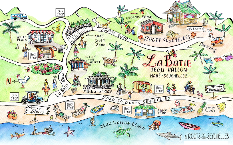Illustrated map of La Batie, Bea Vallon, Seychelles