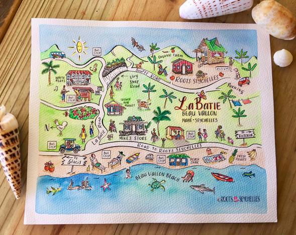 La Batie, Seychelles Illustrated Map by Roots Seychelles