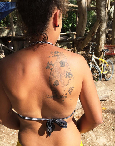 La Digue map tattoo by Roots Seychelles