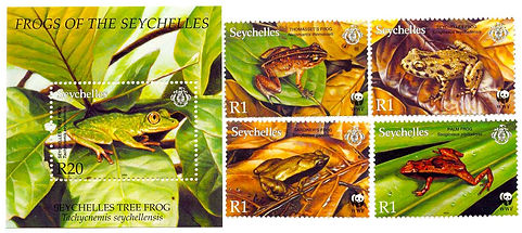 Seychelles stamps with frogs