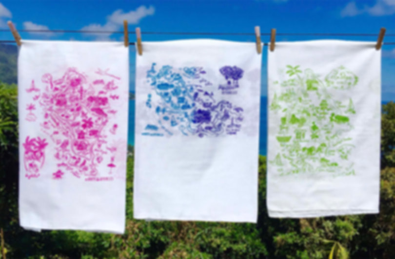 Our screen printed fabrics drying in the sun