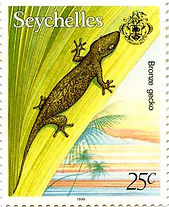 Seychelles stamp with lizard