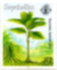 Beautiful palm tree stamp of Seychelles