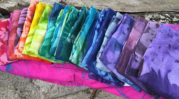 Brightly colored scarves made of 100% cotton