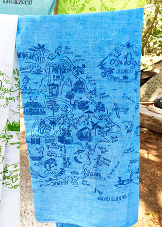La Digue map pareo by Roots Seychelles