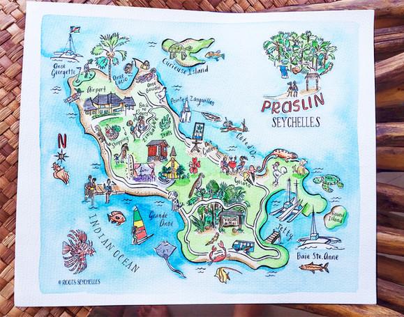 Praslin map by Roots Seychelles