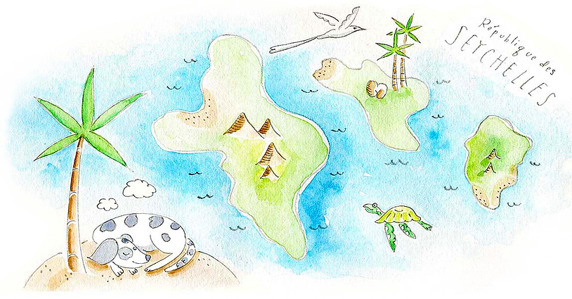 Illustrated map of Seychelles by Stephannie Souffe Roots Seychelles