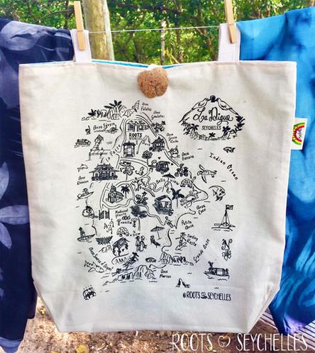 La Digue map tote bag by Roots Seychelles