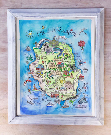 Map of Reunion Island, France by Roots Seychelles