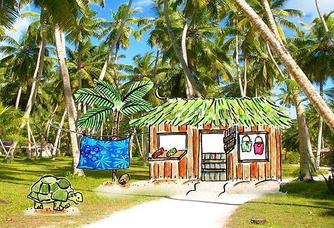 Roots kiosk on La Digue Anse Severe