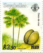 Seychelles stamp with coco de mer