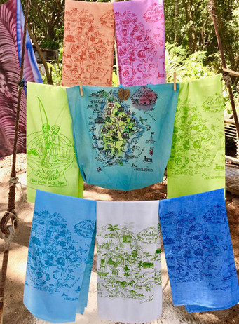 Illustrated map textiles by Roots Seychelles