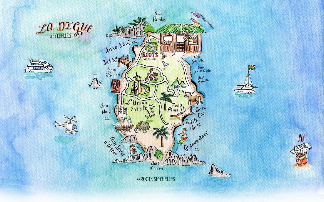 Find us! La Digue Illustrated Map