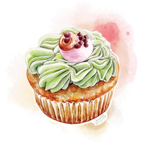 杯子蛋糕 - 綠茶